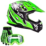 Typhoon Youth Kids Offroad Gear Combo Helmet Gloves Goggles DOT...