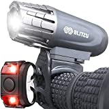 BLITZU USB Rechargeable Bike Light Set Gator 320 Powerful Front and...