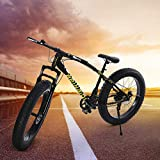 Big Fat Tire Mountain Bike Men Bicycle 26 in High Carbon Steel Frame...