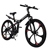Offaod 26 Inch Mountain Bike, 21-Speed, Foldable Dual Disc Brakes Full...